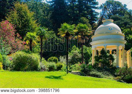 Rotonda In A Park. Gardening And Landscape Design In Public Relax Place. Arboretum Park.