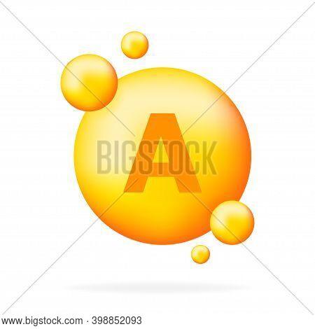 Vitamin A Shining Pill Capcule Icon. Shining Golden Substance Drop. Meds Ads. Beauty Treatment Nutri
