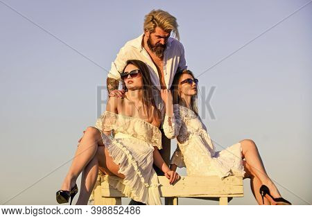 Trio Lovers. Free Relationship. Threesome Concept. In Love With Both. Rooftop Party. Stylish Hipster