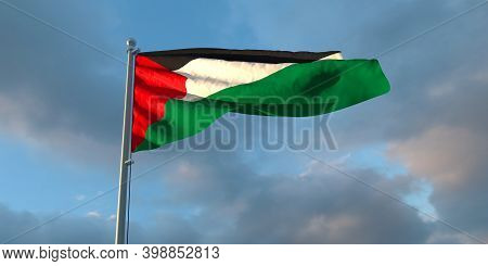 3d Rendering Of The National Flag Of The Palestine