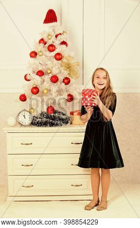 Child Celebrate Christmas At Home. Favorite Day Of The Year. Time To Open Christmas Gifts. Opening C