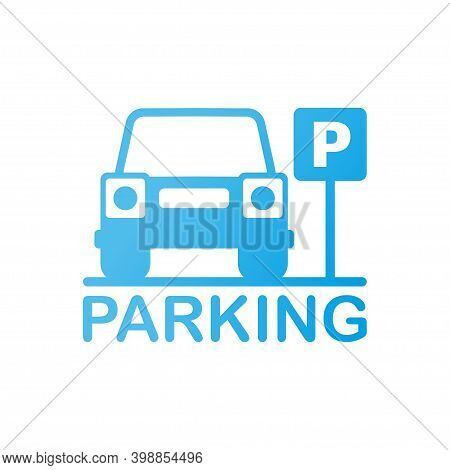 Isolated Parking Sign - Blue Roadsign With Letter P Isolated On White Background.