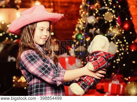 Love Is In The Air. New Year Holiday. Christmas. Little Girl Celebrate Xmas. Little Girl In Hat. Xma