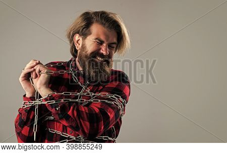 Get Rid Of The Problems. Mature Hipster Break Chain. Fetter. Brutal Man With Chain. Chained Up In Ch