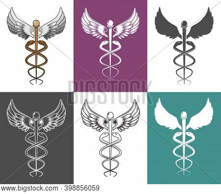Caduceus Medical Symbol Set, Vector Isolated Illustration. Two Snakes Winding Around Winged Staff. S