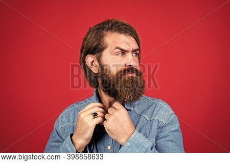 Cool And Sexy. Brutal Hipster With Moustache. Fashion Model Wear Casual Clothes. Male Beauty Standar