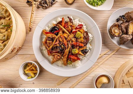 Chow Mein Menu, Rice With Vegetables, Chicken Stripes And Jelly Ear