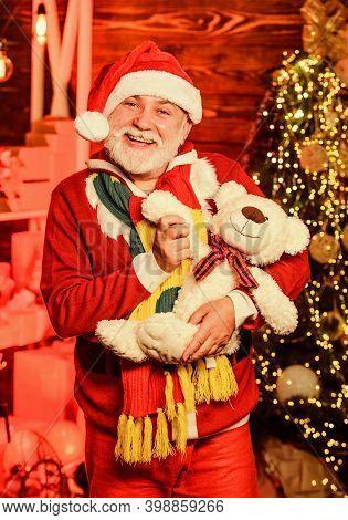 Christmas Spirit. Bearded Grandfather Senior Man Celebrate Christmas. Kind Grandpa With Soft Toys. C