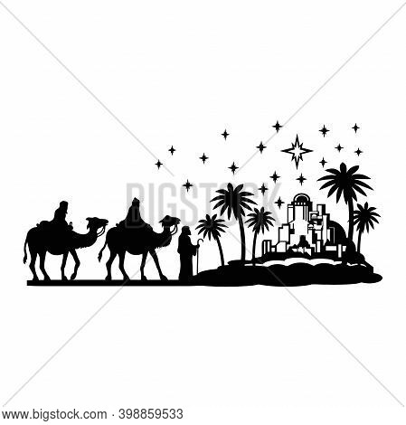 Holy Night Silhouette - Nativity Scene Of Baby Jesus Silhouette In A Manger With Mary And Joseph Wit