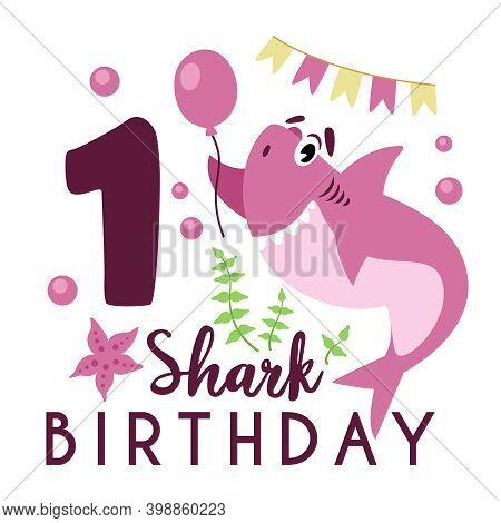 Baby Shark Birthday Party Clipart - The First 1st Baby Birthday, Nursery Cartoon Cute Nautical Illus