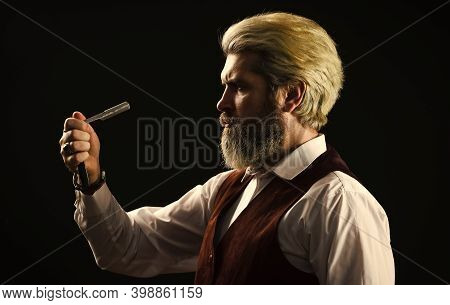 Barbershop Services. Keep Yourself Looking Groomed All Year Round. Hipster Barber. Vintage Style Man