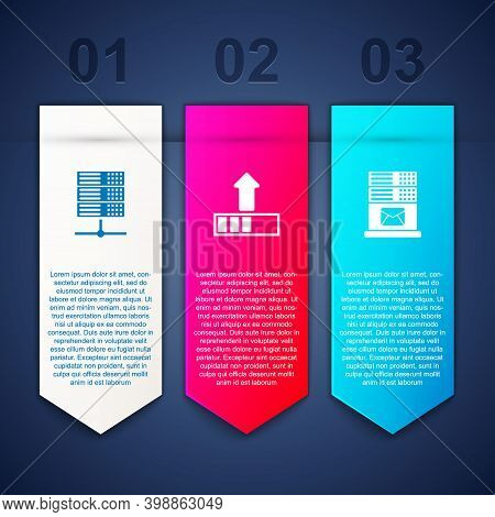 Set Server, Data, Web Hosting, Loading And Mail Server. Business Infographic Template. Vector