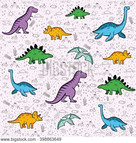 Cute Dinosaurs Seamless Pattern. Funny Cartoon Dino. Hand Drawn Vector Doodle Design For Kids. Hand