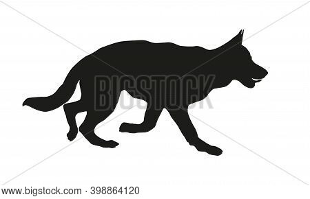 Running German Shepherd Dog Puppy. Black Dog Silhouette. Isolated On A White Background. Vector Illu