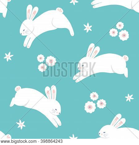 Easter Rabbit Pattern Background, Cute Vector Seamless Repeat Design Of Spring Bunnies Leaping With