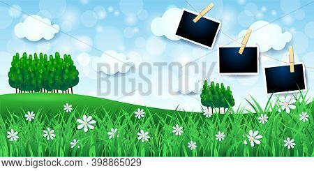 Country Landscape With Woods And Photo Frames, Vector Illustration Eps10