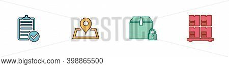 Set Verification Of Delivery List, Placeholder Map, Locked Package And Cardboard Boxes Pallet Icon.