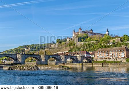 View Of Marienberg Fortress With Alte Mainbrucke From Main River, Wurzburg, Germany