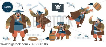 Pirate. Robber, Bandit. Big Pirate Character In Different Situations. Isolated Vector Illustration