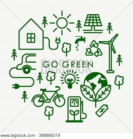 A Collection Of Vector Icons From The Go Green Campaign Movement. Suitable For Design Elements Of Th