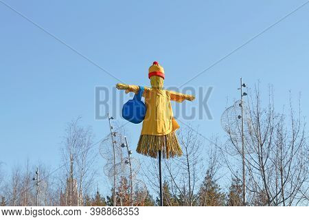 Moscow, Russia - February 25, 2020: Russian Shrovetide Doll With Bag Stand On Stick As Art Object At