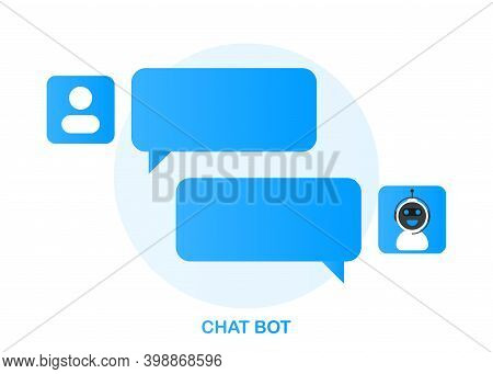 Chatbot Icon Concept, Chat Bot Or Chatterbot. Robot Virtual Assistance Of Website Or Mobile Applicat