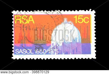 South Africa - Circa 1975 : Cancelled Postage Stamp Printed By South Africa, That Shows South Africa