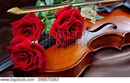 Red Roses And Violin Close Up. Red Roses And Vintage Violin. Melody Concept