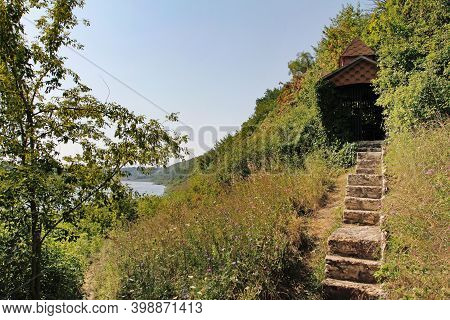 Beautiful Gazebo And Steps On The Slope Of