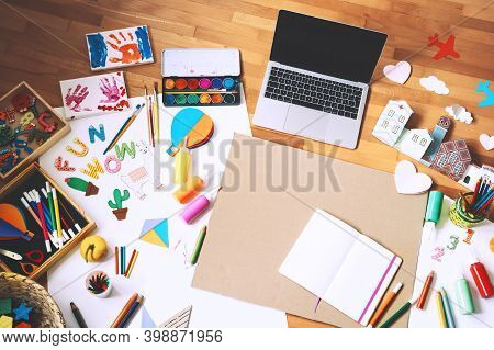 Concept Of Children Distance Online Learning Or Making Crafts.