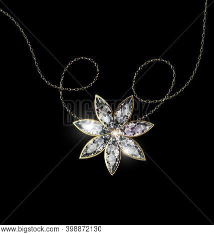 Black Background And Jewel Pendant Star With Golden Chain