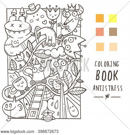 Coloring Book Antistress With Funny Creatures. Doodle Print With Dragon, Monster And Cups. Line Art