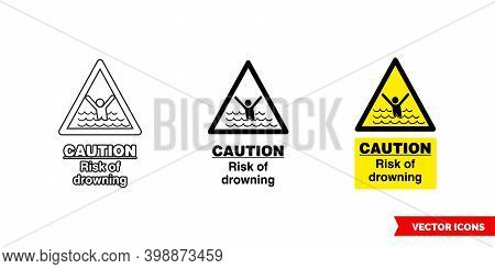 Caution Risk Of Drowning Hazard Sign Icon Of 3 Types Color, Black And White, Outline. Isolated Vecto