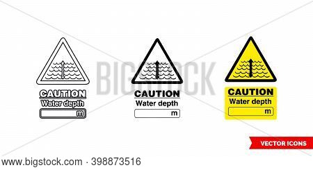 Caution Water Depth Hazard Sign Icon Of 3 Types Color, Black And White, Outline. Isolated Vector Sig