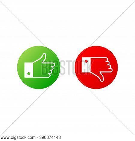 Flat Button Like Or Dislike On White Background. Web Design. Vector Illustration.