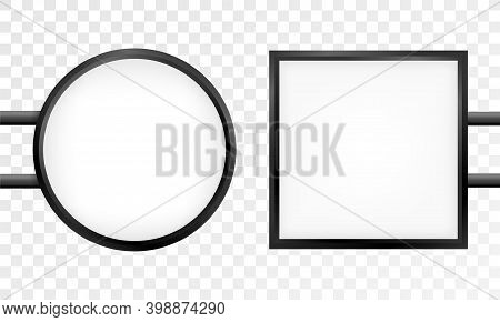 Circular Signboard Mock Up Isolated On Gray Background. Circular Illuminated Lightbox With Empty Spa