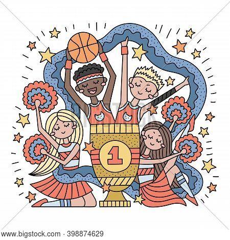 Basketball Team. Cheerleaders With Pompons. Winner's Cup. University Team In Sports Uniform. School