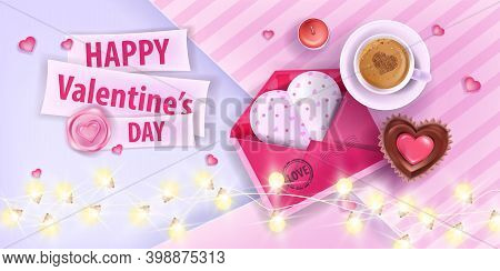 Valentine's Day Love Romantic Greeting Card With Pink Opened Envelope, Coffee Cup, Cupcake. Vector H