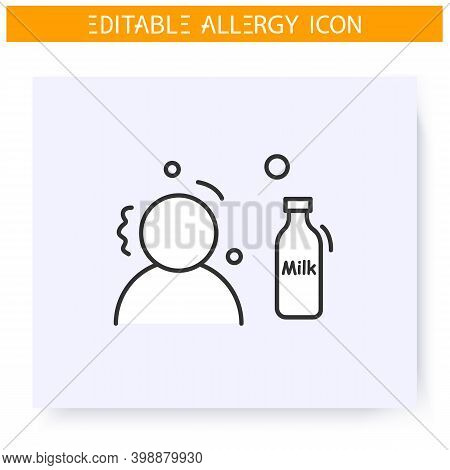Milk Allergy Line Icon. Lactose Intolerance. Nutrients Allergens. Immunity Reaction, Immune Intolera
