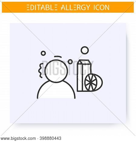 Food Allergy Line Icon. Food Intolerance. Nutrients Allergens. Immunity Reaction, Immune Intolerance