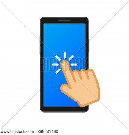 Tap On Smartphone. Communication Icon Symbol. Pointer Icon Symbol. Finger Click