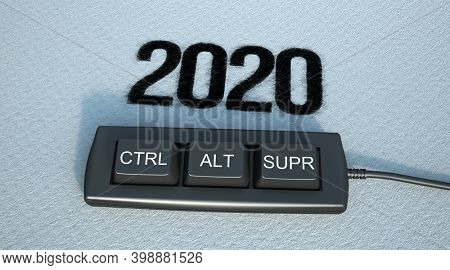 3D rendering of the keys control alt delete and the year 2020
