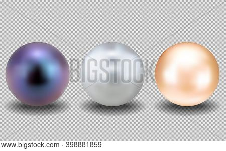 Set Of Realistic Pearls. Round White, Purple, Beige, Formed In The Shell Of A Pearl Oyster, A Gem. V