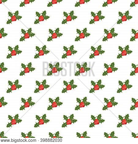 Christmas Seamless Pattern With Holly Plant. Simple Geometric Background With Holly Leaves And Berri
