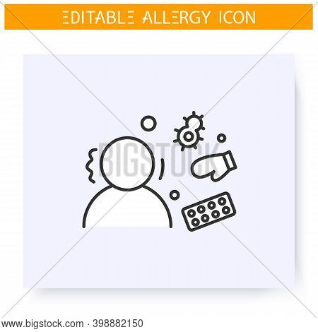 Spring Allergy Line Icon.seasonal Frost And Fur Allergy. Symptoms, Dermatitis, Anaphylaxis.immunity