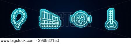 Set Line Rosary Beads Religion, Pan Flute, Chicken Tikka Masala And Sitar. Glowing Neon Icon. Vector