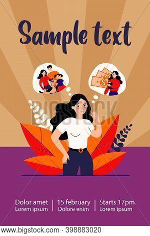 Young Woman Choosing Between Career And Family. Speech Bubble, Money, Children Flat Vector Illustrat
