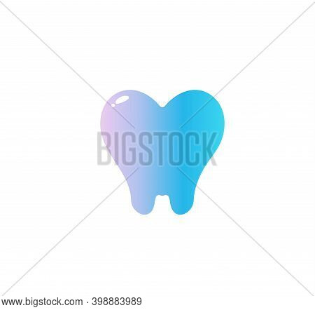 Heart With Tooth Root, Flat Cartoon Style Vector Logo Concept. Dentistry Isolated Icon On White Back