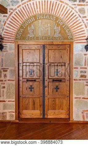Kalambaka, Greece - May 02, 2019: Greek Orthodox Style Wooden Door In Great Meteoron, Meteora, Greec