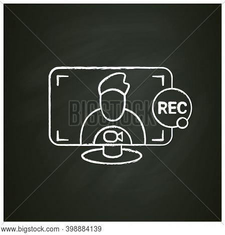 Recording Video Call Chalk Icon. Video Conference, Interview, Webinar Or Courses Recording. Computer